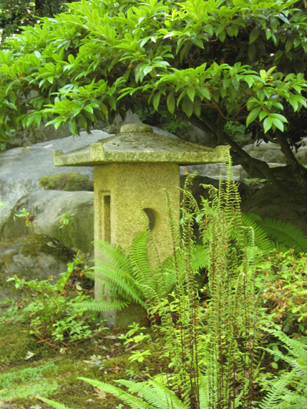 Square Stone Lantern At The Seattle Japanese Garden