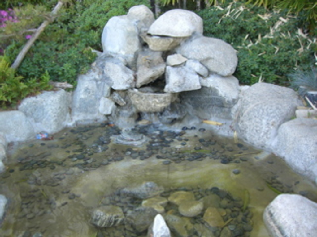 Rock fountain and koi pond discover nikkei for Fish pond rocks