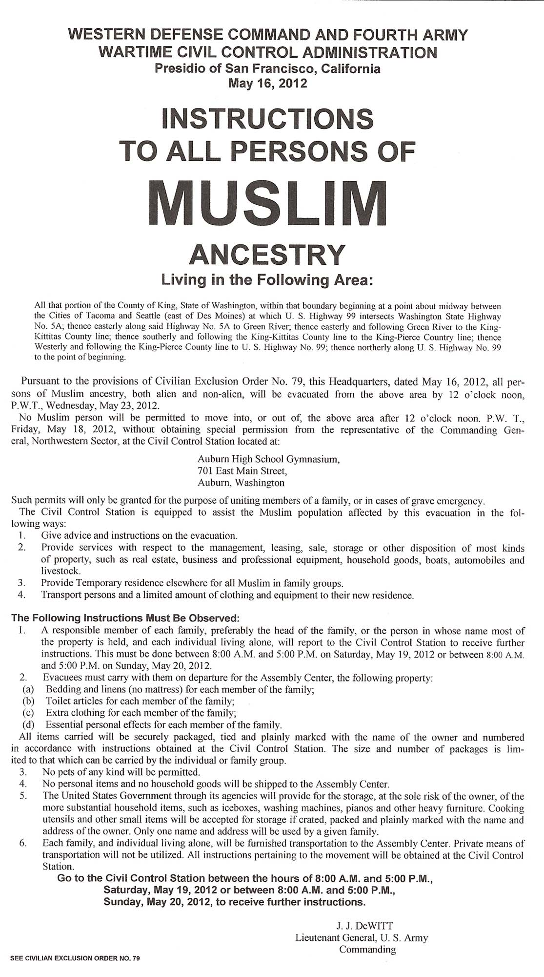 Instructions To All Persons Of Muslim Ancestry Articles Discover