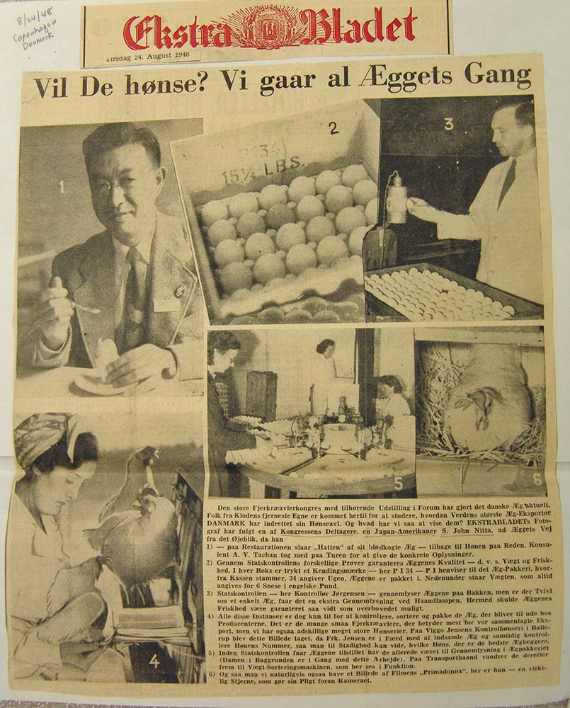 1948 article from Copenhagen, Denmark about John Nitta and chick sexing