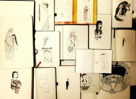 Las libretas en las que viene dibujando cotidianamente. Foto: Archivo personal del autor.