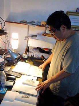 Dibujar es para Tokeshi el arte primigenio que todo pintor debe dominar. Foto: Javier García Wong Kit.